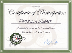 Certificate of participation for Trish in Pet Professional course focused on dog behaviour by Whatta Pup!